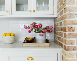 White Cabinets with Brass Hardware