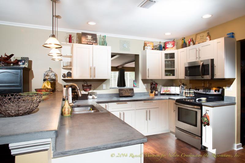 Concrete countertops custom built by nelson construction for Kitchen design nelson