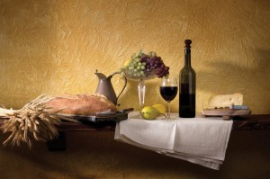 Wine, Cheese and Bread Still Life in a classic setting