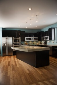 Kitchen with custom wood floors