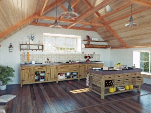 modern kitchen interior with  island in the attic (3d design con