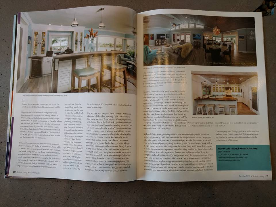 , Nelson Construction and Renovations Featured in Belleair Living Magazine, Nelson Construction & Renovations, Inc.