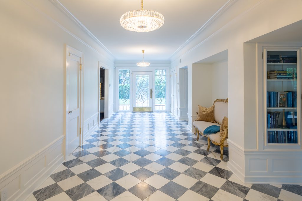Marble Tile in Historic Home Restoration Project provides elegance adding to the luxury of the home.