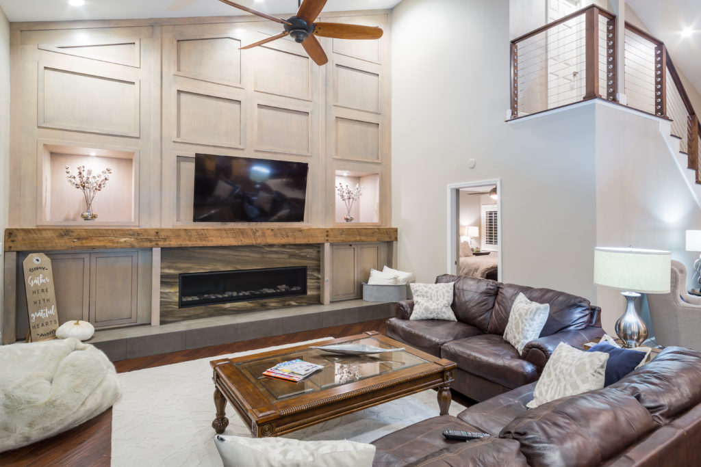 Reclaimed Wood Used for Fireplace Mantel